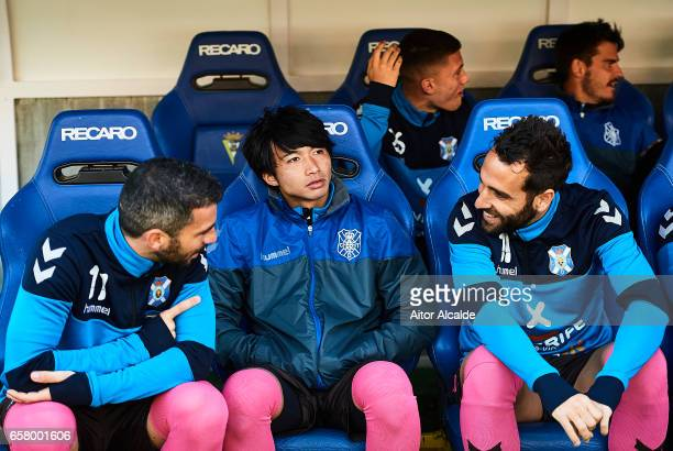 Gaku Shibasaki of CD Tenerife looks on prior to La Liga Segunda Division between Cadiz CF and CD Tenerife at Estacio Ramon de Carranza on March 26...