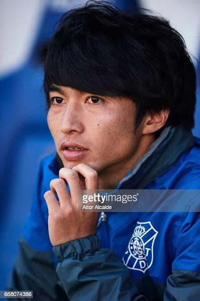 Gaku Shibasaki of CD Tenerife looks on prior to La Liga Segunda Division between Cadiz CF and CD Tenerife at Estacio Ramon de Carranza on March 26...