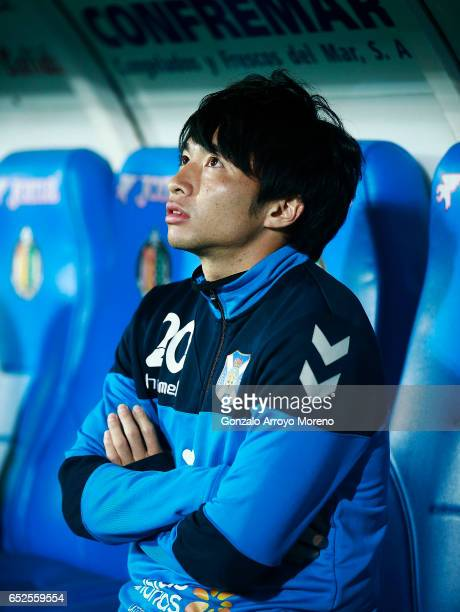 Gaku Shibasaki of CD Tenerife looks up sitted on the bench before the La Liga second league match between Getafe CF and Tenerife SAD at Coliseum...