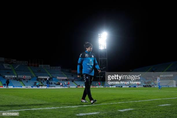Gaku Shibasaki of CD Tenerife warms up before the La Liga second league match between Getafe CF and Tenerife SAD at Coliseum Alfonso Perez on March...