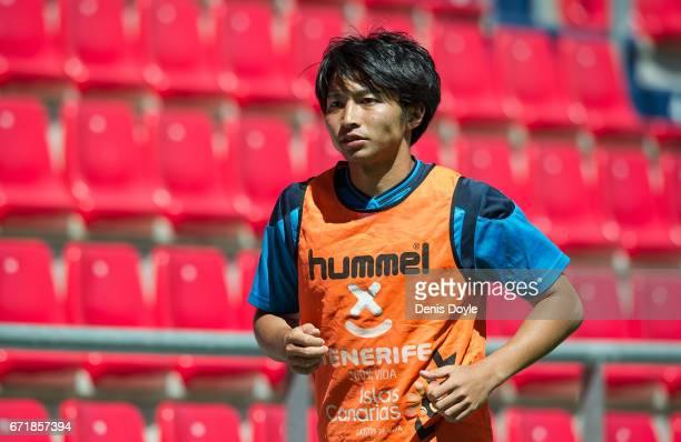 Gaku Shibasaki of CD Tenerife warms up during the La Liga Segunda Division match between CD Numancia and CD Tenerife at Estadio Los Pajaritos on...