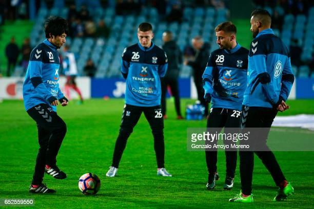 Gaku Shibasaki of CD Tenerife warms up with his teammates before the La Liga second league match between Getafe CF and Tenerife SAD at Coliseum...