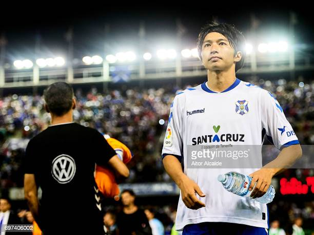 Gaku Shibasaki of CD Tenerife waves to the fans after wining the match of La Liga 2 play off round between CD Tenerife at Heliodoro Rodriguez Lopez...