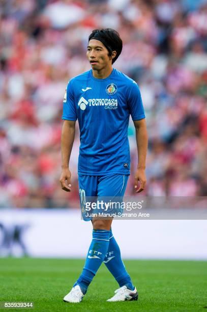 Gaku Shibasaki of Getafe CF reacts during the La Liga match between Athletic Club and Getafe at at San Mames Stadium on August 20 2017 in Bilbao Spain