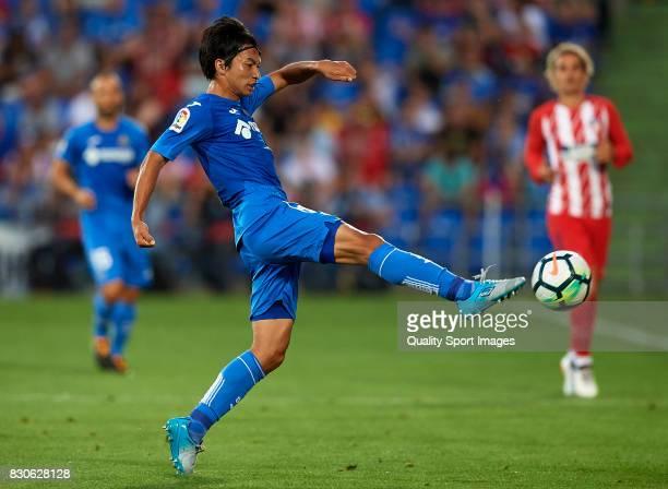 Gaku Shibasaki of Getafe in action during the Pre Season Friendly match between Getafe CF and Atletico de Madrid at Coliseum Alfonso Perez Stadium on...
