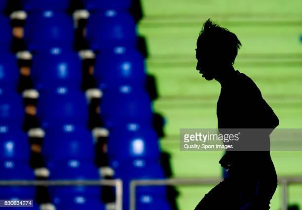 Gaku Shibasaki of Getafe in action prior to the Pre Season Friendly match between Getafe CF and Atletico de Madrid at Coliseum Alfonso Perez Stadium...