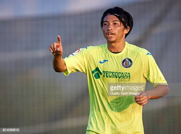 Gaku Shibasaki of Getafe reacts during the preseason friendly match between CD Alcoyano and Getafe CF at Oliva Nova Golf on July 28 2017 in Oliva...