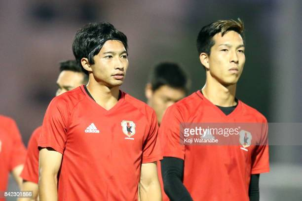 Gaku Shibasaki of Japan in action during a training session ahead of the FIFA World Cup qualifier against Saudi Arabia at AlAhli Saudi Sports Club on...