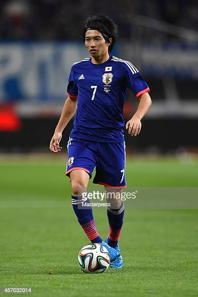 Gaku Shibasaki of japan in action during the international friendly match between Japan and Jamaica at Denka Big Swan Stadium on October 10 2014 in...