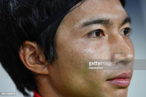 Gaku Shibasaki of Japan looks on prior to the FIFA World Cup Qualifier match between Japan and Australia at Saitama Stadium on August 31 2017 in...