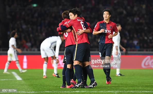 Gaku Shibasaki of Kashima Antlers celebrates with team mates after he scores his sides first goal during the FIFA Club World Cup Final match between...