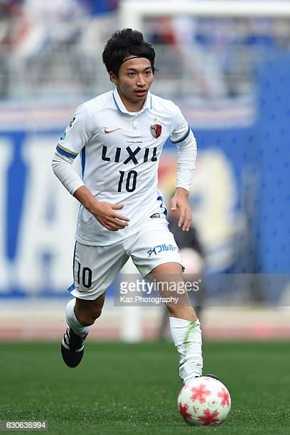 Gaku Shibasaki of Kashima Antlers dribbles the ball during the 96th Emperor's Cup semifinal match between Yokohama F Marinos and Kashima Antlers at...