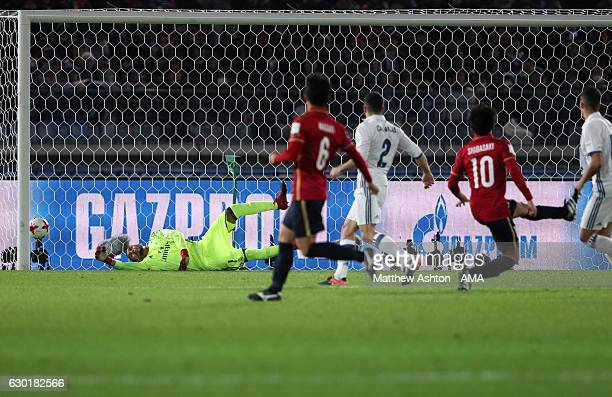 Gaku Shibasaki of Kashima Antlers scores his team's second goal to make the score 12 during the FIFA Club World Cup final match between Real Madrid...
