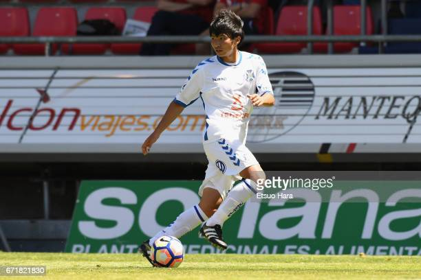 Gaku Shibasaki of Tenerife in action during the La Liga second division match between CD Numancia and CD Tenerife at Los Pajaritos on April 23 2017...