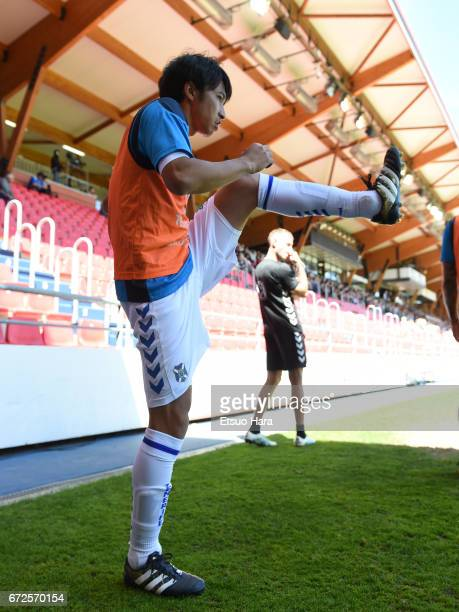 Gaku Shibasaki of Tenerife is seen during the La Liga second division match between CD Numancia and CD Tenerife at Los Pajaritos on April 23 2017 in...