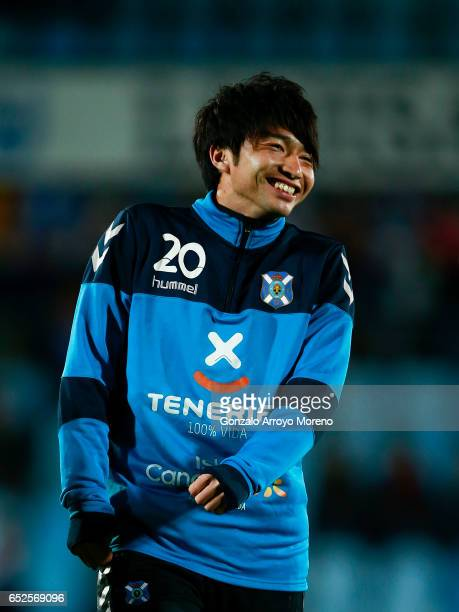 Gaku Shibasaki of Tenerife smiles as he warms up before the La Liga second league match between Getafe CF and Tenerife at Coliseum Alfonso Perez on...