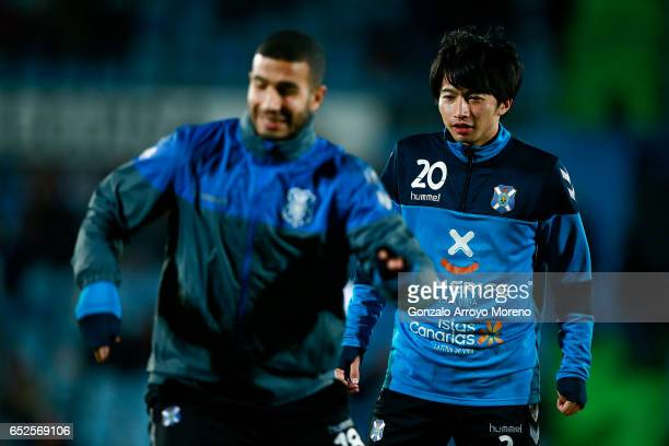Gaku Shibasaki of Tenerife warms up before the La Liga second league match between Getafe CF and Tenerife at Coliseum Alfonso Perez on March 12 2017...