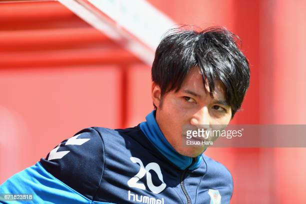 Gaku Shibasaki of Tenerife warms up prior to the La Liga second division match between CD Numancia and CD Tenerife at Los Pajaritos on April 23 2017...