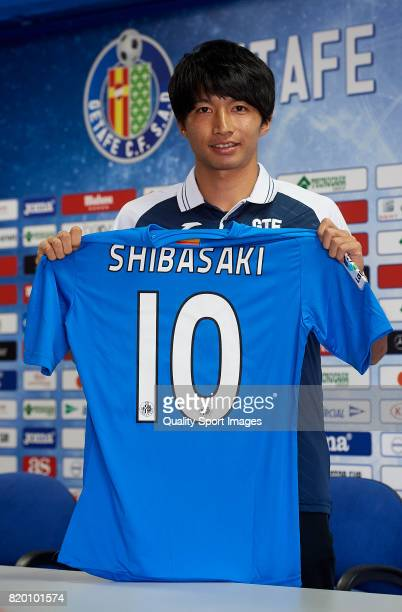 Gaku Shibasaki poses during his presentation as a new player of Getafe CF at Coliseum Alfonso Perez on July 21 2017 in Getafe Spain