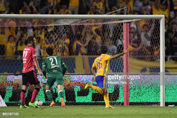 Gakuto Notsuda of Vegalta Sendai celebrates scoring his side's second goal during the JLeague J1 match between Cerezo Osaka and Vegalta Sendai at...