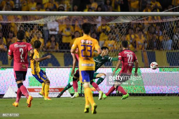 Gakuto Notsuda of Vegalta Sendai scores his side's second goal during the JLeague J1 match between Cerezo Osaka and Vegalta Sendai at Kincho Stadium...