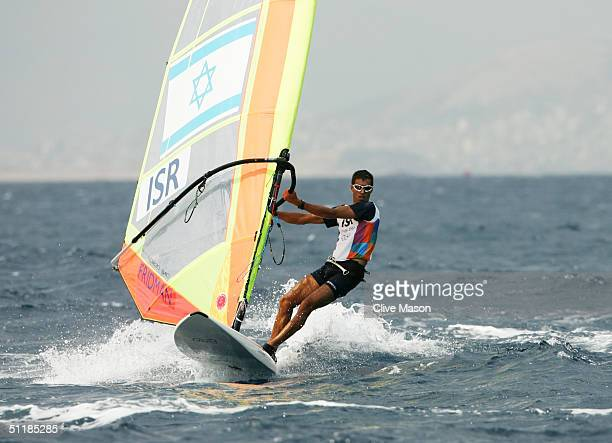Gal Fridman of Israel competes in the men's windsurfer mistral race on August 15 2004 during the Athens 2004 Summer Olympic Games at Agios Kosmas...
