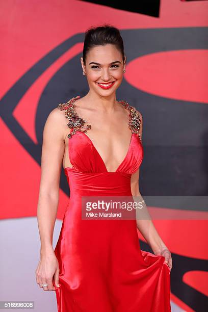 Gal Gadot arrives for the European Premiere of 'Batman V Superman Dawn Of Justice' at Odeon Leicester Square on March 22 2016 in London England
