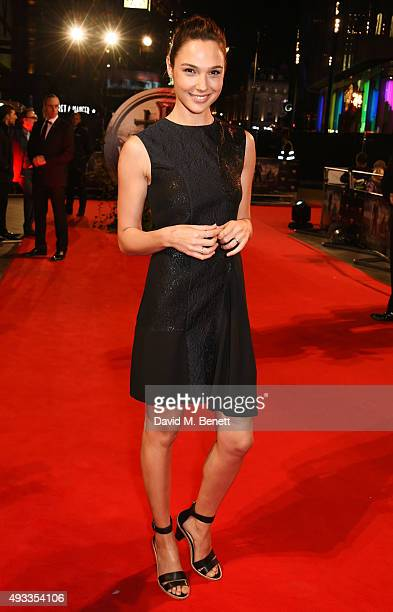 Gal Gadot attends the UK Premiere of 'The Last Witch Hunter' at Empire Leicester Square on October 19 2015 in London England