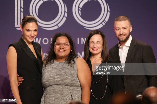 Gal Gadot Carla Arellano Laurie Zaks and Justin Timberlake pose onstage at The Hollywood Reporter's 2017 Women In Entertainment Breakfast at Milk...