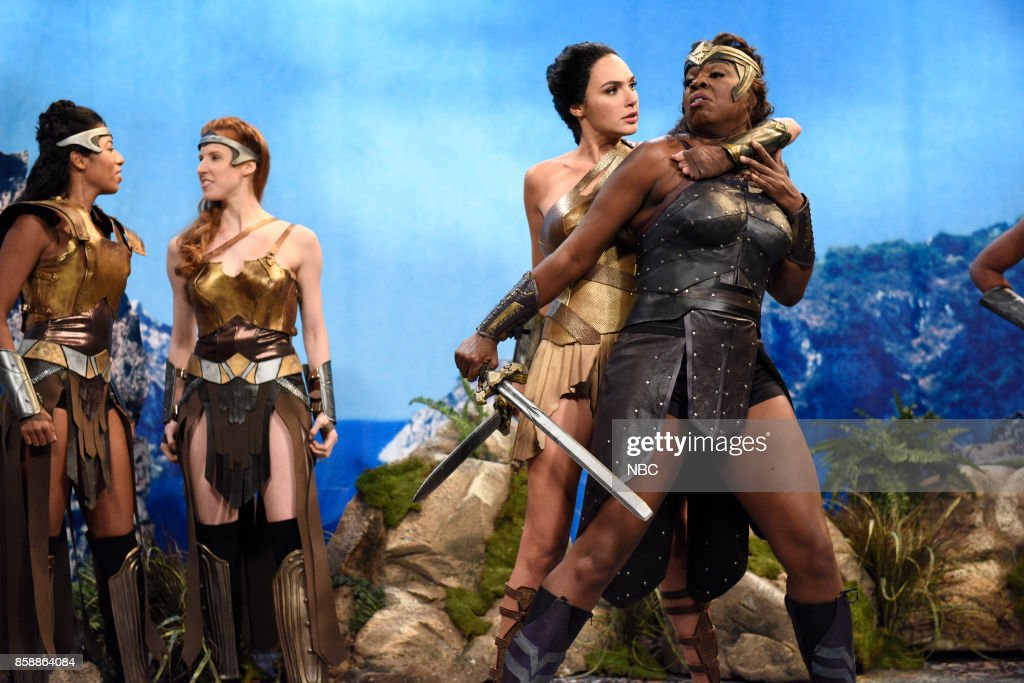 LIVE -- 'Gal Gadot' Episode 1727 -- Pictured: (l-r) Gal Gadot as Diana, Leslie Jones during 'Themyscira' in Studio 8H on October 7, 2017 --