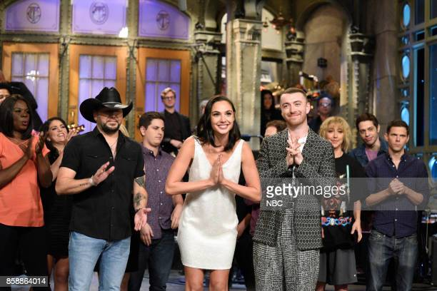 LIVE 'Gal Gadot' Episode 1727 Pictured Jason Aldean Gal Gadot Sam Smith during 'Goodnights Credits' in Studio 8H on October 7 2017