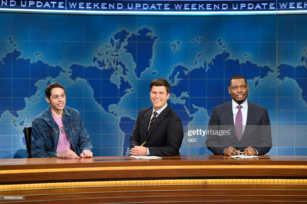 LIVE -- 'Gal Gadot' Episode 1727 -- Pictured: (l-r) Pete Davidson, Colin Jost, Michael Che during 'Weekend Update' in Studio 8H on October 7, 2017 --