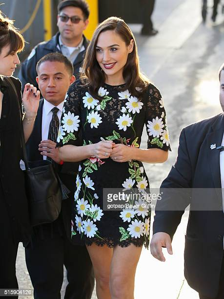 Gal Gadot is seen at 'Jimmy Kimmel Live' on March 15 2016 in Los Angeles California
