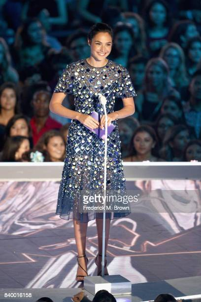 Gal Gadot speaks onstage during the 2017 MTV Video Music Awards at The Forum on August 27 2017 in Inglewood California