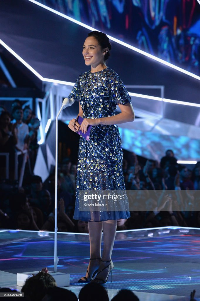Gal Gadot speaks onstage during the 2017 MTV Video Music Awards at The Forum on August 27, 2017 in Inglewood, California.