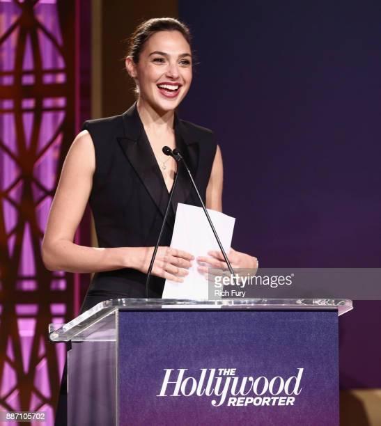 Gal Gadot speaks The Hollywood Reporter's 2017 Women In Entertainment Breakfast at Milk Studios on December 6 2017 in Los Angeles California
