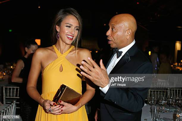 Gala board member Jessica Alba and entrepreneur Russell Simmons attend the 2015 Baby2Baby Gala presented by MarulaOil Kayne Capital Advisors...