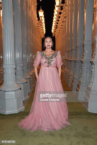Gala cochair Eva Chow wearing Gucci attends the 2016 LACMA Art Film Gala Honoring Robert Irwin and Kathryn Bigelow Presented By Gucci at LACMA on...