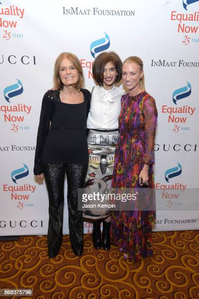 Gala CoChair Gloria Steinem Global Executive Director Equality Now Yasmeen Hassan and Honoree President and CEO Gucci America Susan Chokachi attend...