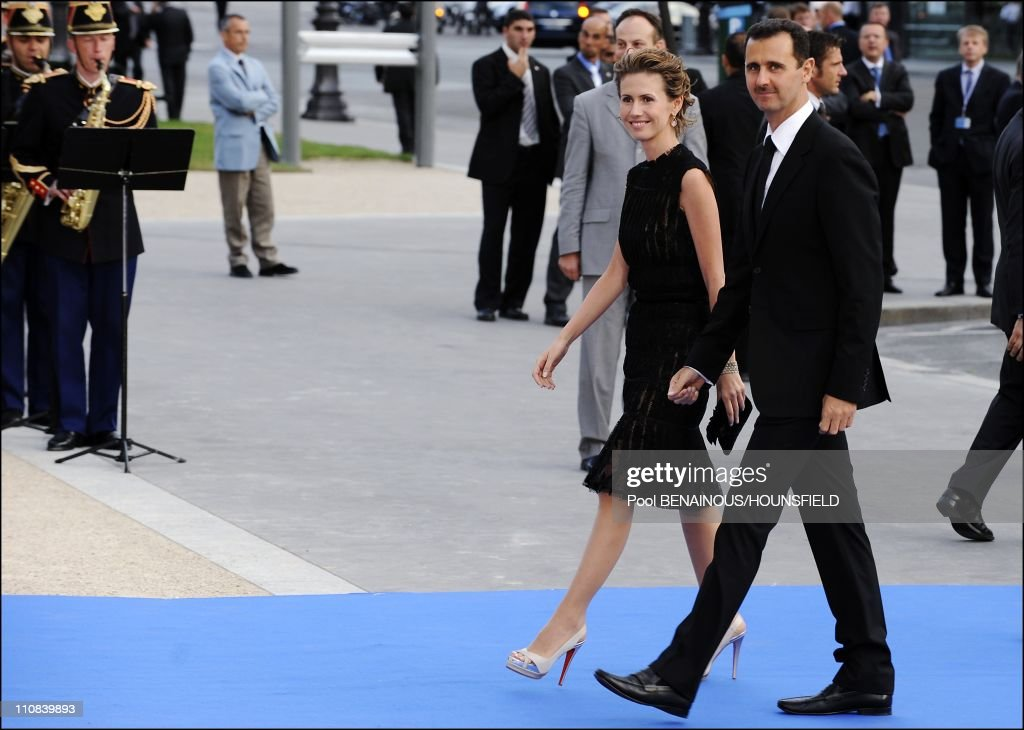 Gala Diner At The Petit Palais For The Paris' Union For The Mediterranean Founding Summit In Paris, France On July 13, 2008 - Syrian President Bashar Al-Assad and his wife Asma.