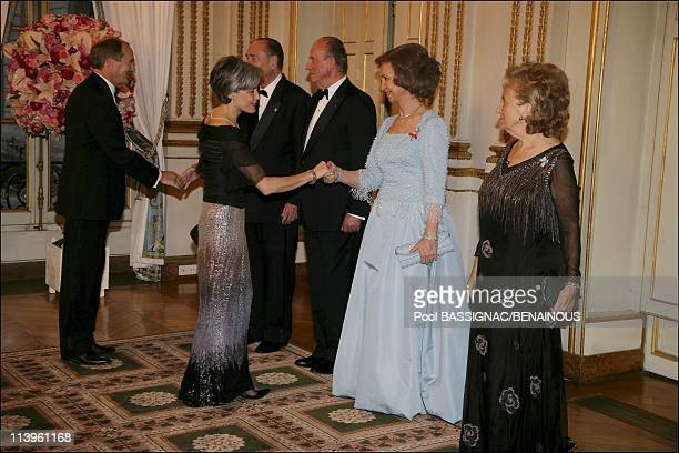 Gala dinner at the Elysee Palace as part of the Spanish Royals 3Day State Visit In Paris France On March 27 2006Former European Affairs Minister...
