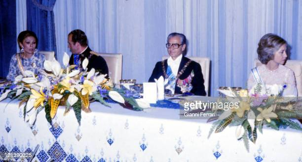 Gala dinner for the Spanish Kings Juan Carlos and Sofia and the Shah Reza Pahlevi with his wife Farah Diba at the Embassy of Spain 17th 06 1978...