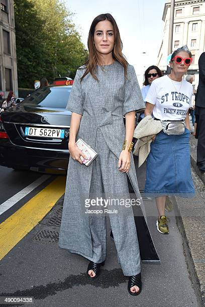 Gala Gonzalez arrives at the Roberto Cavalli show during the Milan Fashion Week Spring/Summer 2016 on September 26 2015 in Milan Italy