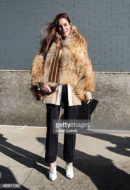 Gala Gonzalez is seen outside the Calvin Klein show wearing all Calvin Klein with an Elena Benarroch fur on February 19 2015 in New York City