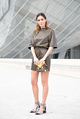 Gala Gonzalez poses in a Louis Vuitton total look on Day 9 of Paris Fashion Week Womenswear FW15 on March 11 2015 in Paris France