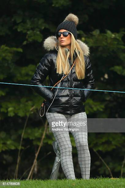 Gala Larrazabal wathes her husband Pablo Larrazabal of Spain during the third round of the British Masters at The Grove on October 15 2016 in Watford...