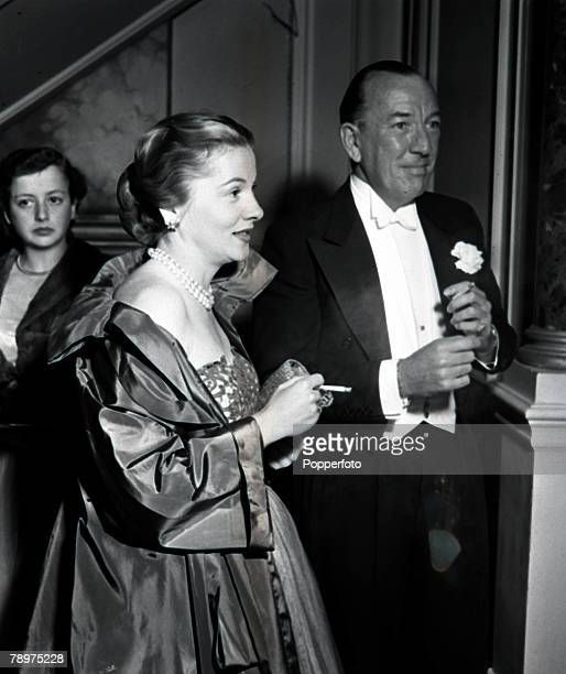 1951 Gala night at Covent Garden pictured are Japanese born American actress Joan Fontaine and English dramatist actor and composer Noel Coward