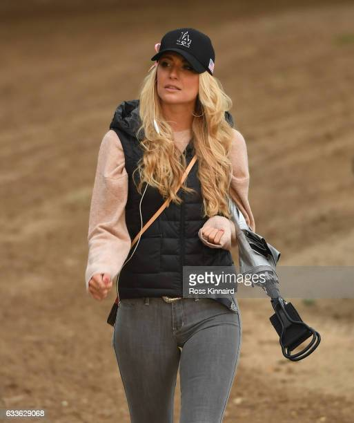 Gala Ortin the wife of Pablo Larrazabal of Spain on the par five 10th hole during the second round of the Omega Dubai Desert Classic at Emirates Golf...