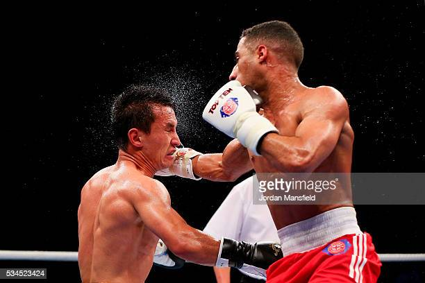 Galal Yafai of British Lionhearts in action against Zhomart Yerzhan of Astana Arlans in the semifinal of the World Series of Boxing between the...
