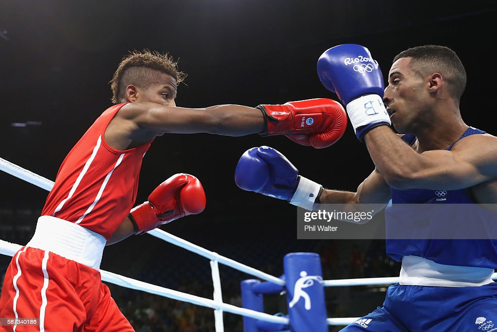 Galal Yafai of Great Britain fights Joahnys Argilagos of Cuba in their Mens 4649 Light Fly Weight bout on Day 3 of the Rio 2016 Olympic Games at the...